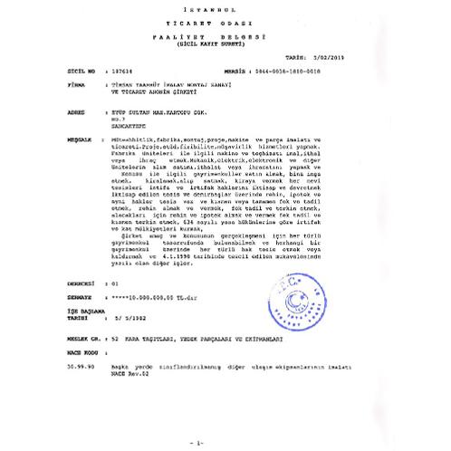 Timsan GSE Ticaret Odası Faaliyet Belgesi 2019